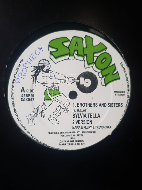 """BROTHERS AND SISTERS  / JAMAICAN LAND SYLVIA TELLA SAXON 12"""" CUT TO PROPHECY"""
