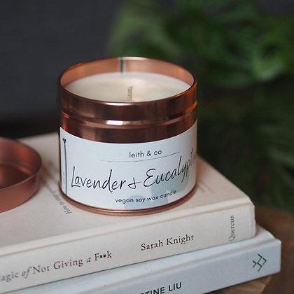 Medium Lavender & Eucalyptus tin candle