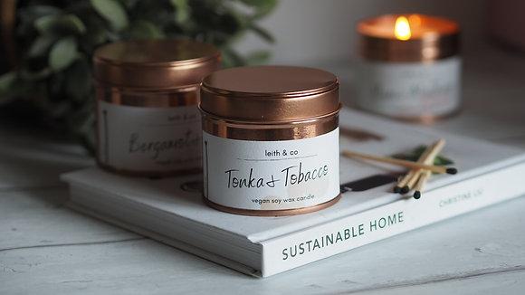 Medium Tonka & Tobacco tin candle