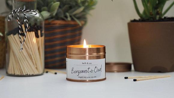 Medium Bergamot & Oud candle tin