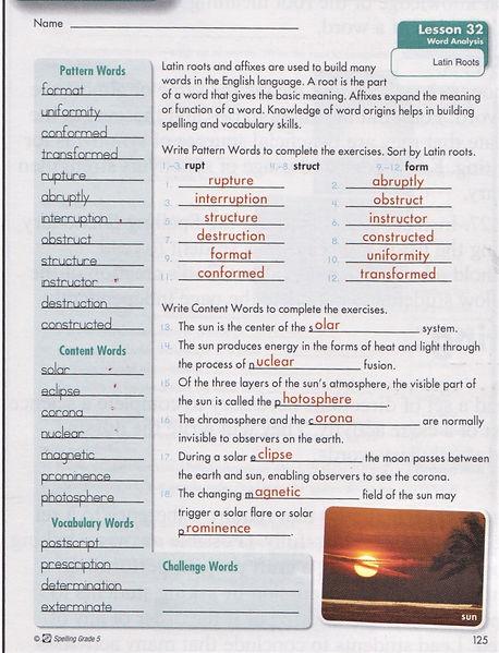 5th Spelling p. 125.JPG