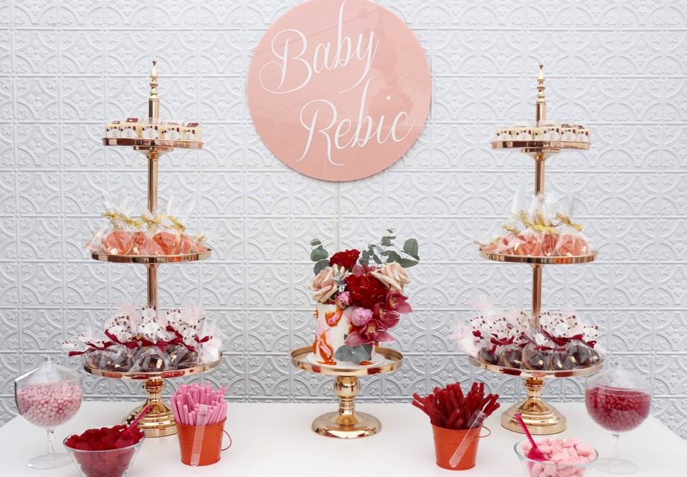 Pressed Wall/Signage/Gold Cake Stands