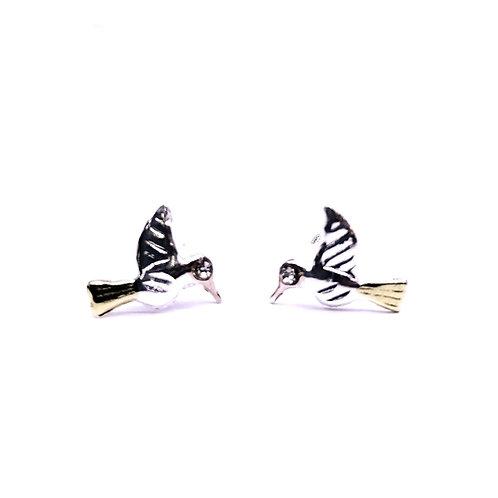 Broquel colibri plata con baño de oro