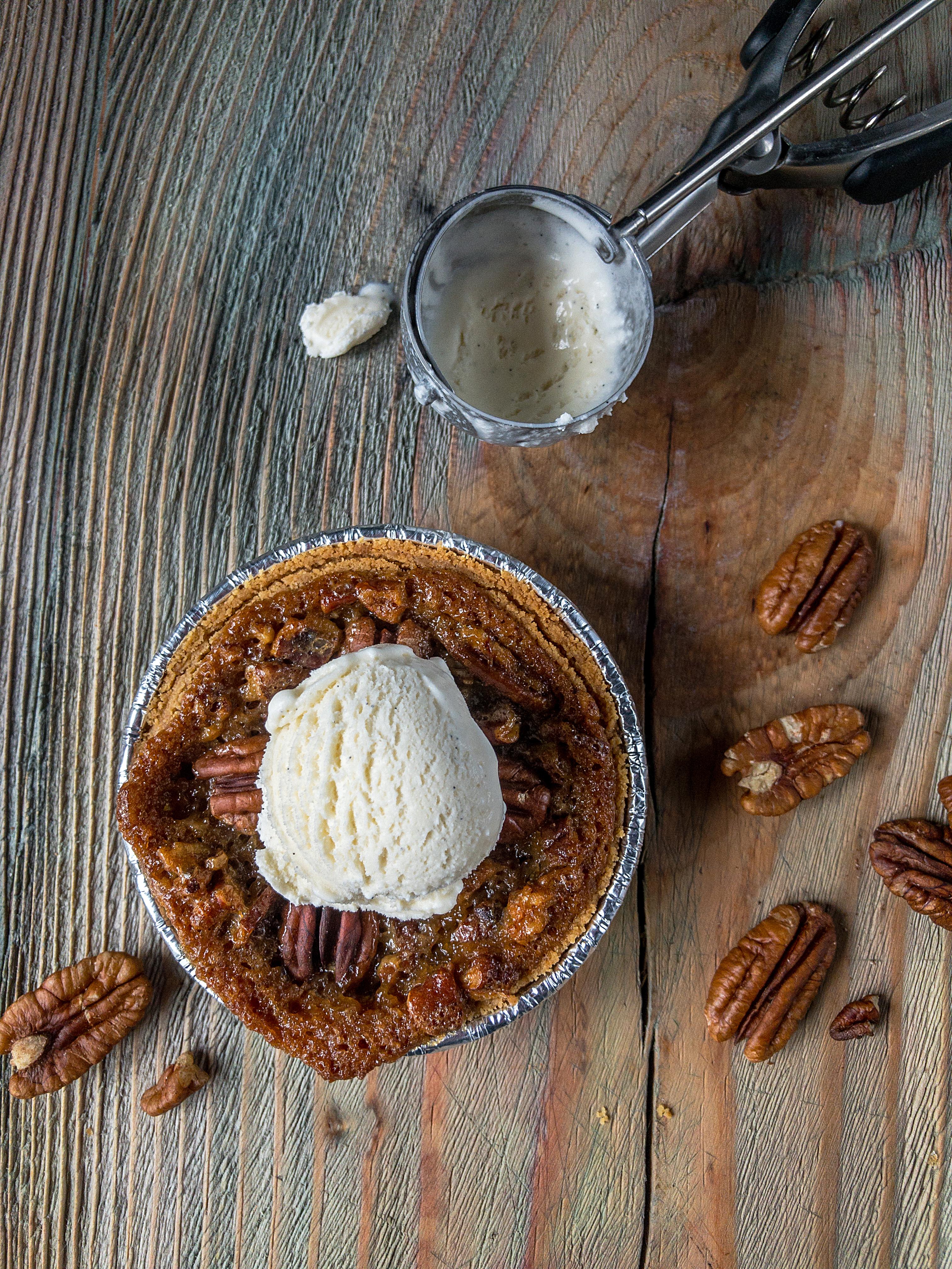 mini pecan pie with scoop of vanilla ice