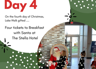 On the Fourth Day of Giveaways Lake Walk Gifted ....Breakfast with Santa Tickets