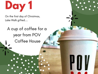 On the First Day of Giveaways Lake Walk Gifted ... A Cup of Coffee for a Year from POV Coffee House
