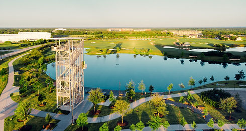 Lake Walk Town Center in Bryan, Texas, outdoor Lake Atlas, observation tower, lookout point