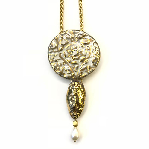 45 mm Athena Pendant with Gold Drop and Pearl Accent