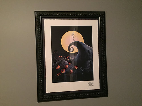 Extremely rare Tim Burton signed Jack on the Spiral Hill Giclee