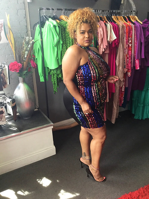 Multi Color Sequins Dress
