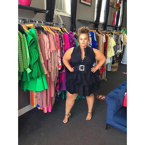 Stretch Poppin Tiered Shirt Dress-Black