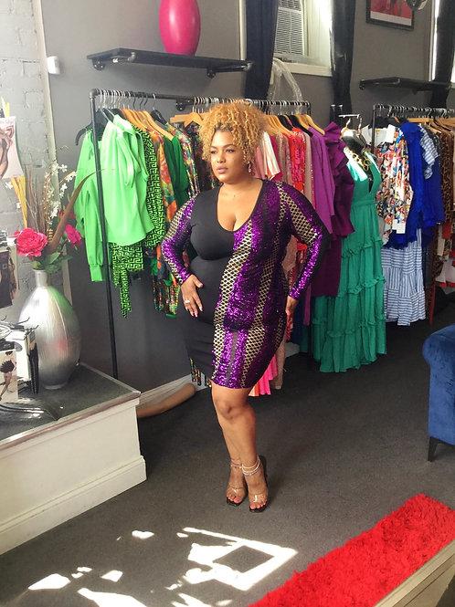 Sequins Color Block Long Sleeve Dress