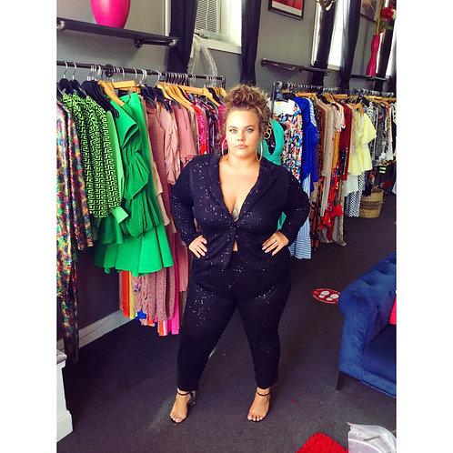 Black Sequin Blazer Set