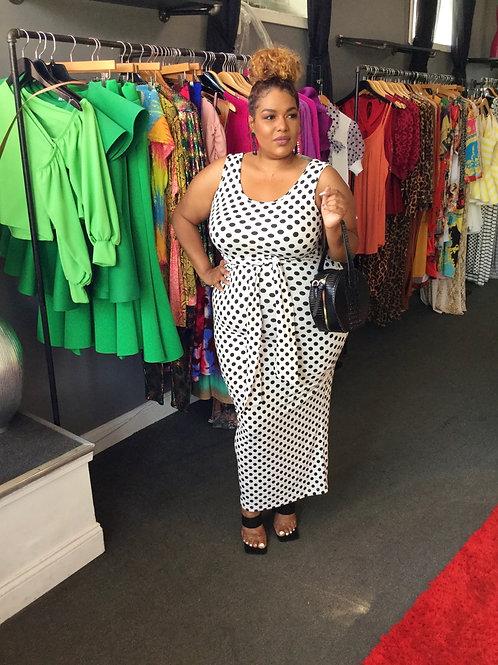 Black Polka Dot Front Tie Dress