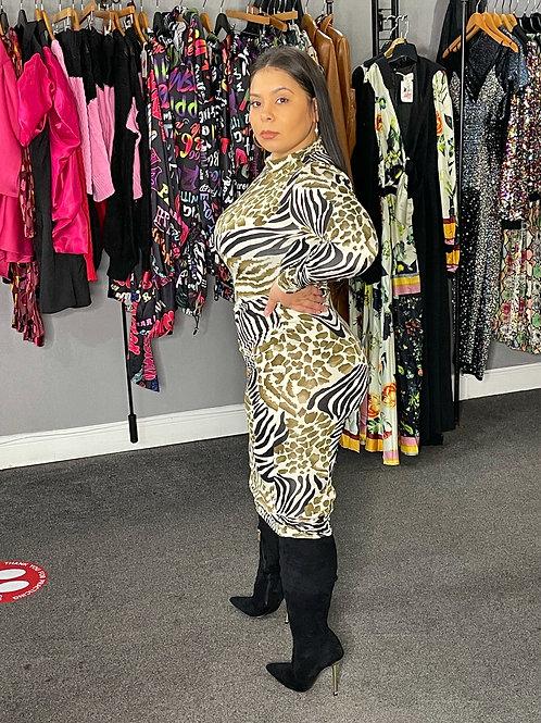Animal Print Mid Dress