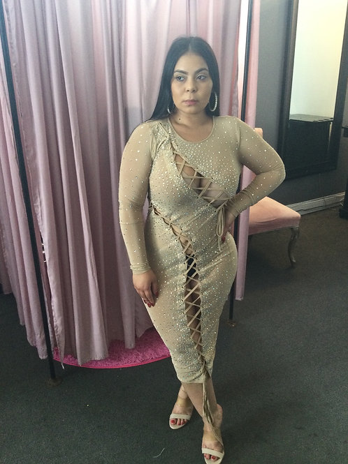 Nude Bling Dress With Ties