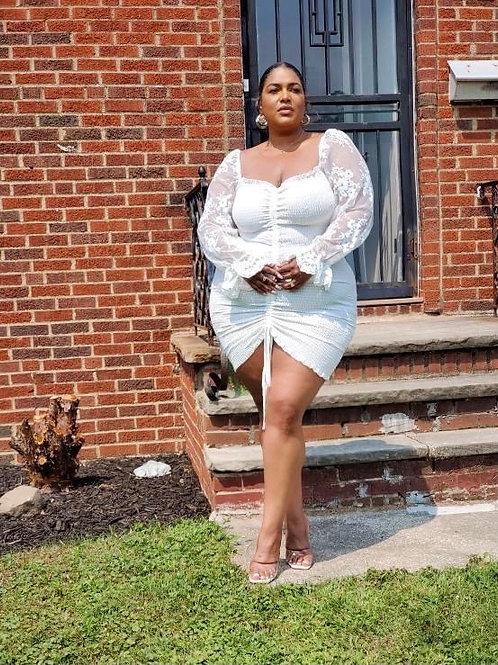 All White Everything Scrunch Dress