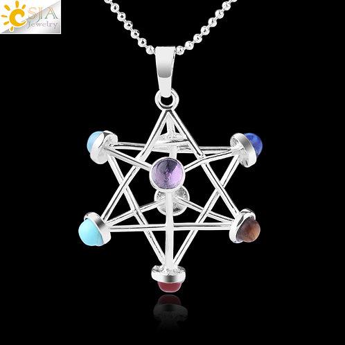 Merkaba Natural Stone Reiki 7 Chakra Necklaces Healing Hollow Star