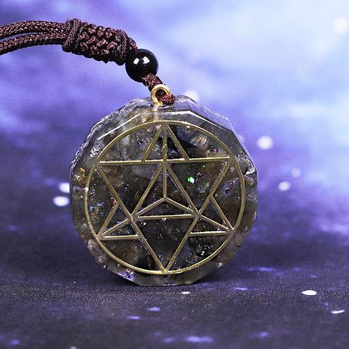 Orgonite Energy Crystal Natural Labradorite Necklace Eliminates Negative Energy