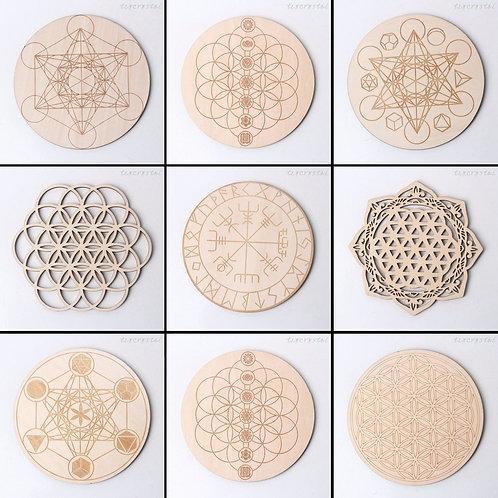 1pc (10cm) Meditation Crystal Grid Geometric Sacred Wooden Healing Board