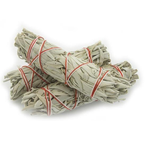 "White Sage Smudge Stick - 3 Mini Bundles (4""-5"")"