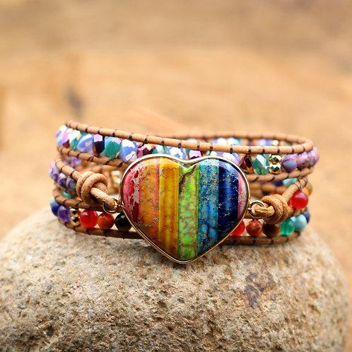 Seven Chakra Heart Stones Bracelet - Handmade