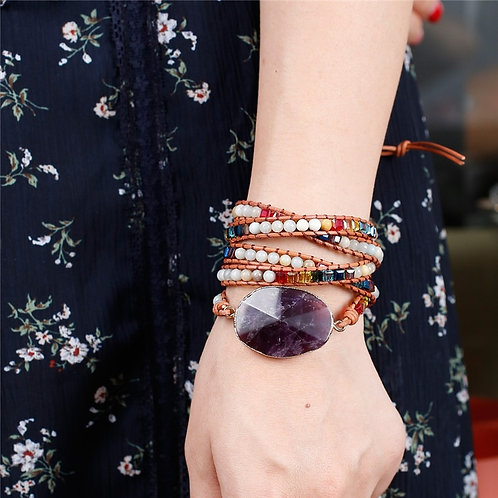Chakra Natural Stones Charm 5 Strands Wrap Bracelets Handmade Leather