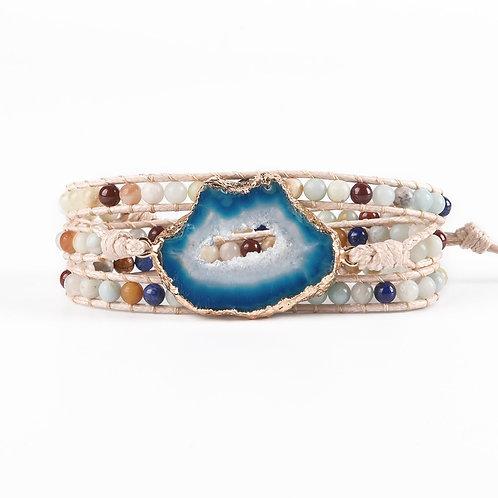 Women Bracelet Natural Stone Leather Wrap Semi Precious Stone Mala Bracelet