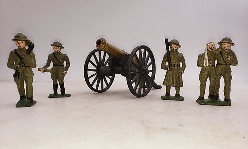 Four Cast Iron WW1 Figures and a Cannon.