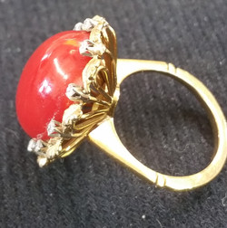 Coral Ring with Diamonds b