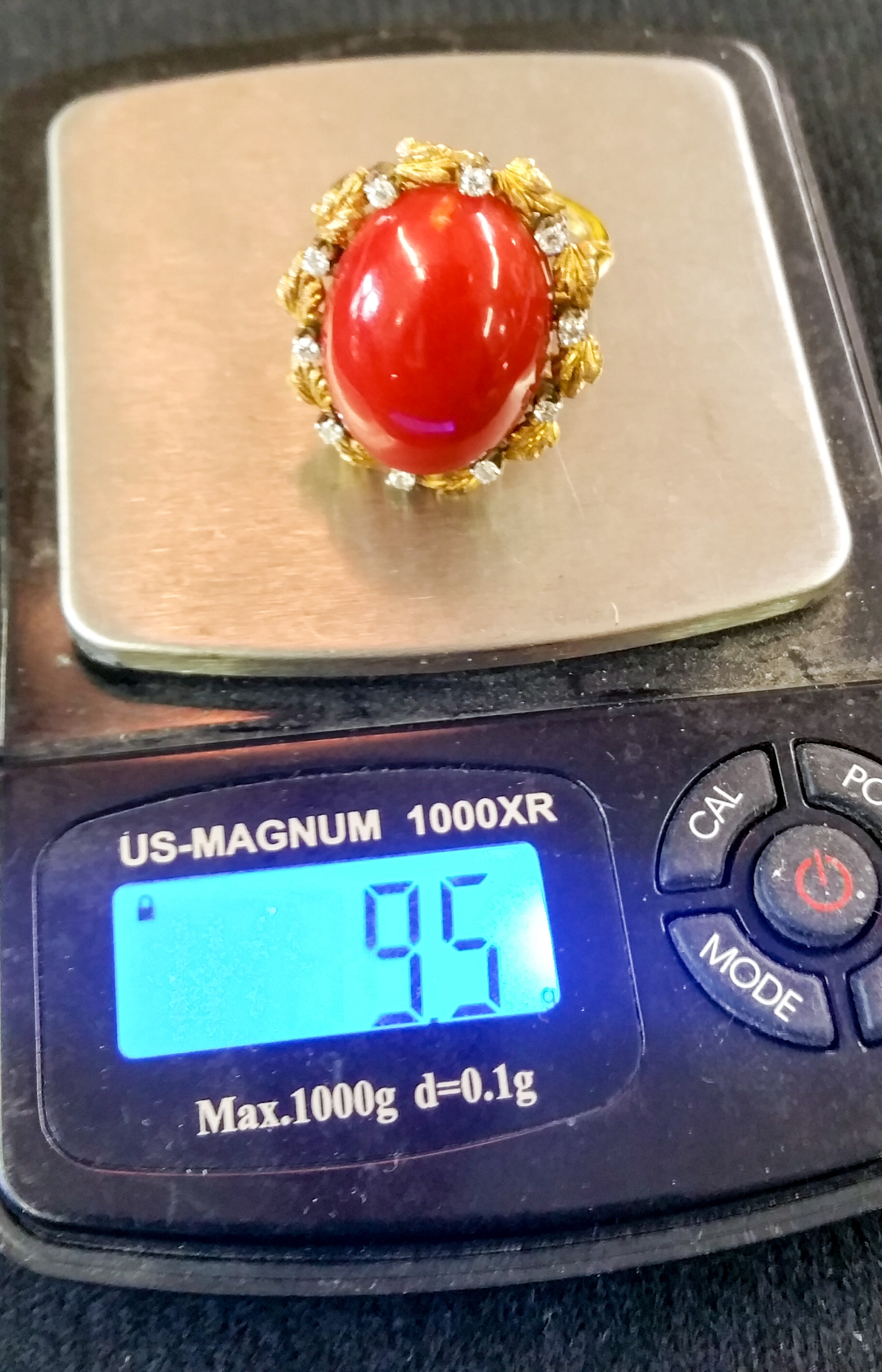 Coral Ring with Diamonds c
