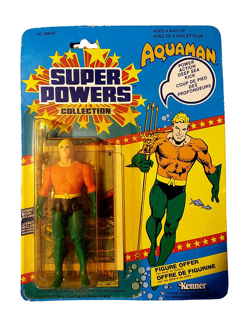 DC SUPER POWERS AQUAMAN, 1985 KENNER - 12 BACK 1st Series on Card