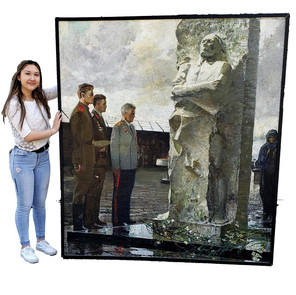 Original Large Format Oil on Canvas, WWII Museum, Russian