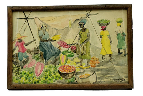 1971 Watercolor by Jamaican Artist Lionel Walker