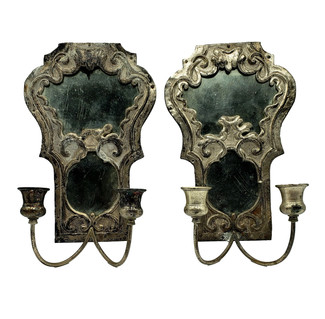 Pair of Silver Tin Mirrored Candle Sconces