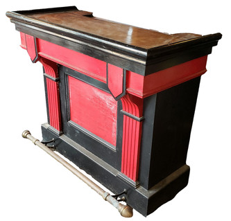 Antique Bar with Brass Foot Rail