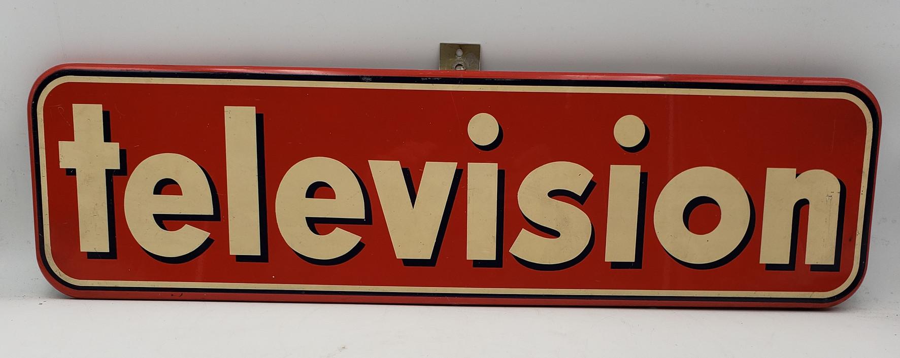 Vintage Television Enamel - Painted Metal Sign Advertisement 26 1/2 x7 1/2 1950s