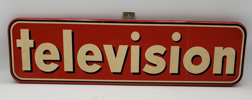 Vintage Television Enamel - Painted Metal Sign Advertisement 26 1/2 x7 1/2 1950s