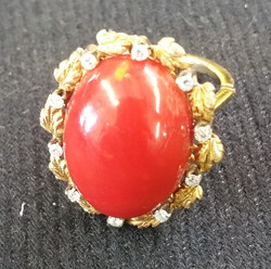 Coral Ring with Diamonds a