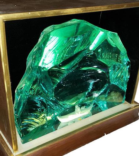 Large Hand Carved Glass by V. Lindstrand for Kosta of Sweden