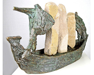 Ship with standing stones