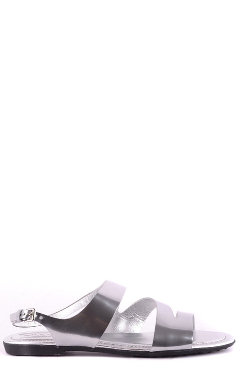 Tod's Silver Leather Flat