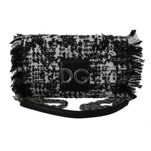 Dolce & Gabbana Women's Black White Wool Crossbody Bag