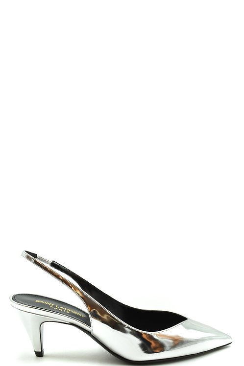 Saint Laurent Silver Leather Stiletto