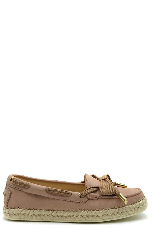 Tod's Antique Pink Leather Espadril