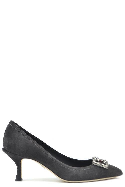 Dolce & Gabbana Gray Chamois Pumps
