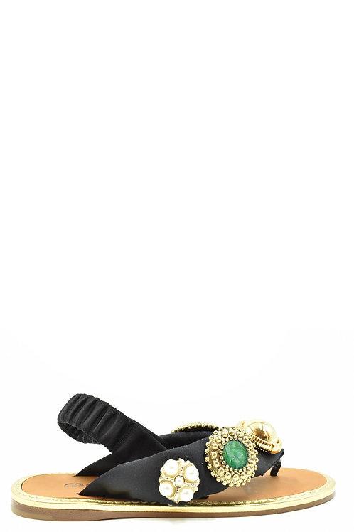 Miu Miu Black Satin Sandal