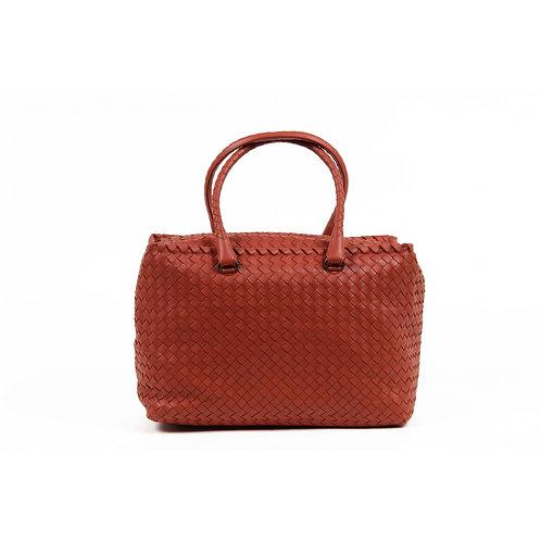 Bottega Veneta Womens Intrecciato Red Handbag