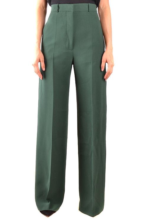 Trousers Burberry Green Wool&Silk