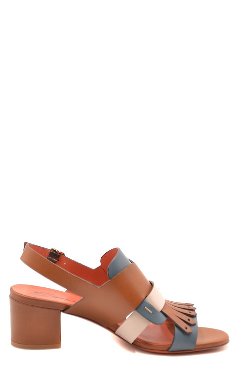 Santoni Brown Leather Sandal